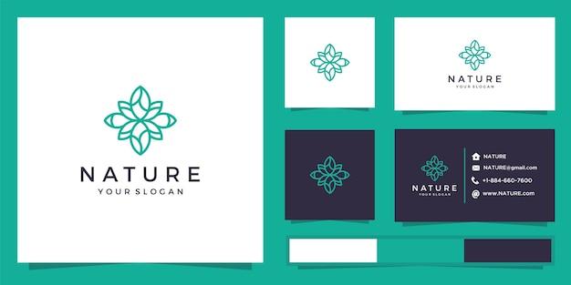 Naturblumenlogo mit linienstil. logo und visitenkarten