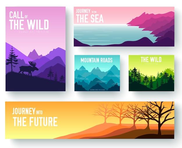 Naturbroschüre kartensatzillustration