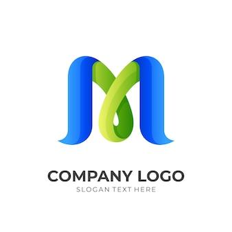Naturbuchstabe m logoentwurf mit dem grünen und blauen farbstil 3d