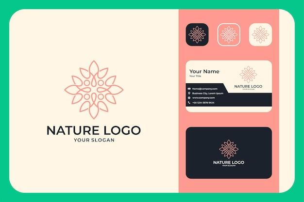 Nature beauty line art logo-design und visitenkarte