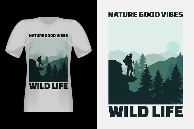 Nature good vibes handgezeichnetes vintage-t-shirt-design