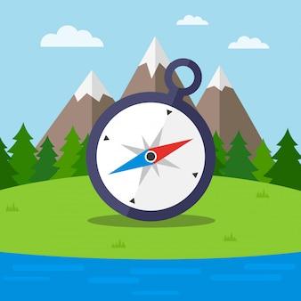 Naturhintergrund mit kompass auf dem wald