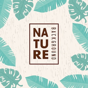 Naturhintergrund, rahmen der tropischen naturblätter mit pastellfarbe