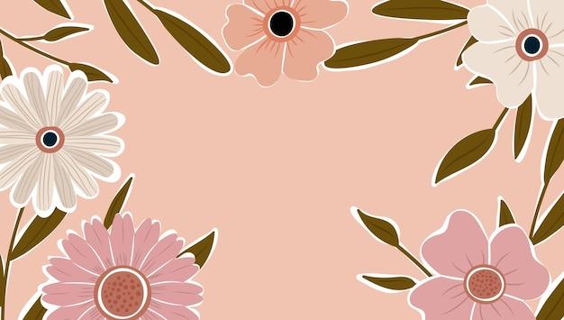 Naturhintergrundvektor der abstrakten kunst. trendiger pflanzenrahmen. design hintergrundfarbe blumen, dekorativer schöner garten. botanische blätter und florales musterdesign für das sommerverkaufsbanner.