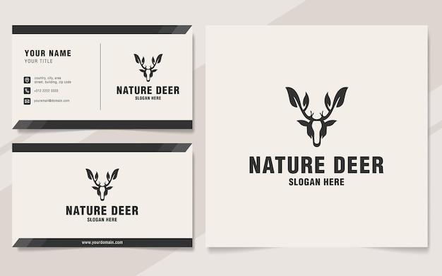 Naturhirsch-logo-vorlage im monogramm-stil