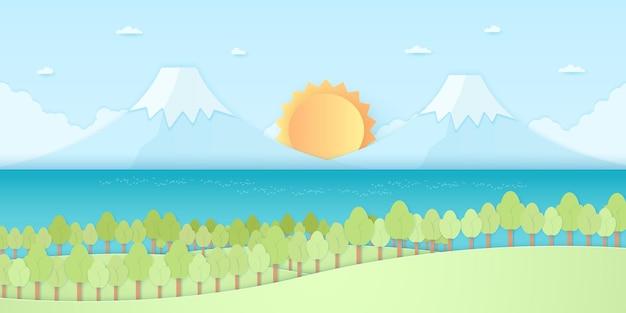 Naturhügel, berge und meer, bäume mit sonne und blauem himmel, papierkunststil