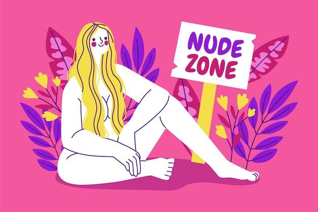 Naturismuskonzept illustriert mit frau in der nacktzone