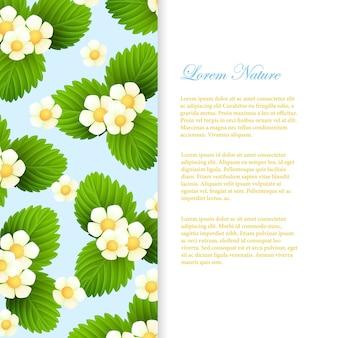 Naturkarte mit realistischen blättern und blüten. vektorillustration