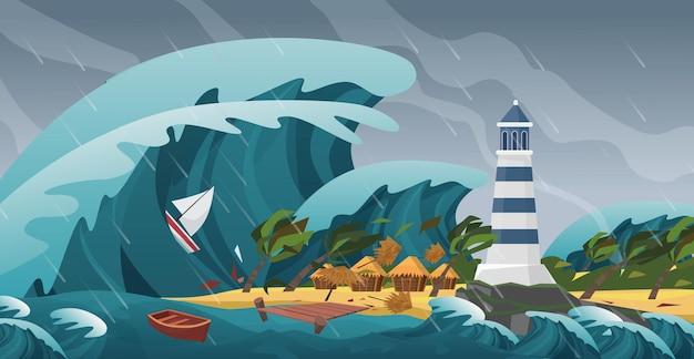 Naturkatastrophe der tsunami-seestücksturmlandschaft