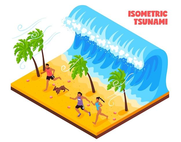 Naturkatastrophe im südland isometrisch mit den leuten und tieren, die von der tsunamiwelle laufen
