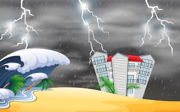 Naturkatastrophe in der nähe des gebäudes
