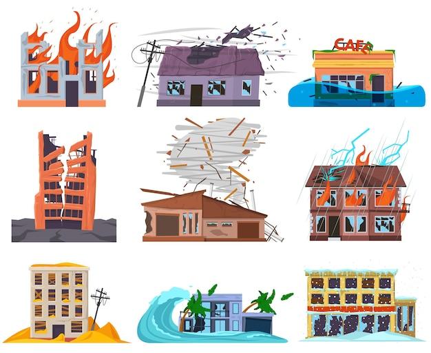 Naturkatastrophen kataklysmen zerstörten, zerstörten, überflutete häuser. ruinierte verlassene gebrochene stadtwohnhäuser vektorillustrationssatz. überflutete, verbrannte stadtteilhäuser