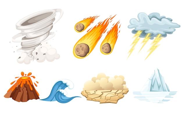 Naturkatastrophenikonen eingestellt. tsunami-welle, tornado-wirbel, flammenmeteorit, vulkanausbruch, sandsturm, enteisung, sturm. cartoon-stil-farbsymbol. illustration auf weißem hintergrund