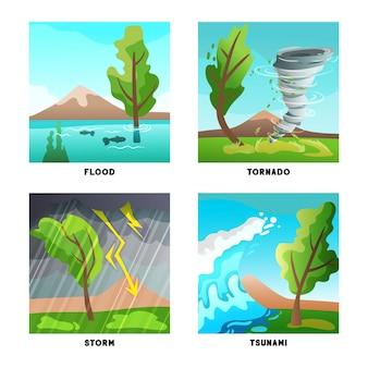 Naturkatastrophenkonzept 4 flache kompositionen mit sturmfluttornado und tsunamiwelle isoliert
