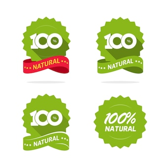 Naturkostprodukt symbol logo vektor bade label grüne rosette flache cartoon-siegel isoliert