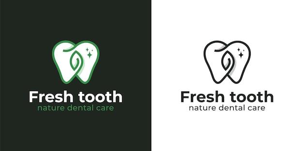 Naturkräuterfrischer zahn oder zahn mit sauberen weißen zähnen für zahnpasta und zahnarztlogo