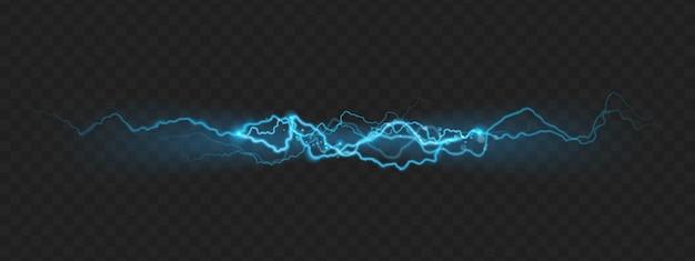 Naturkrafteffekt eines starken ladungsblitzes mit funken.