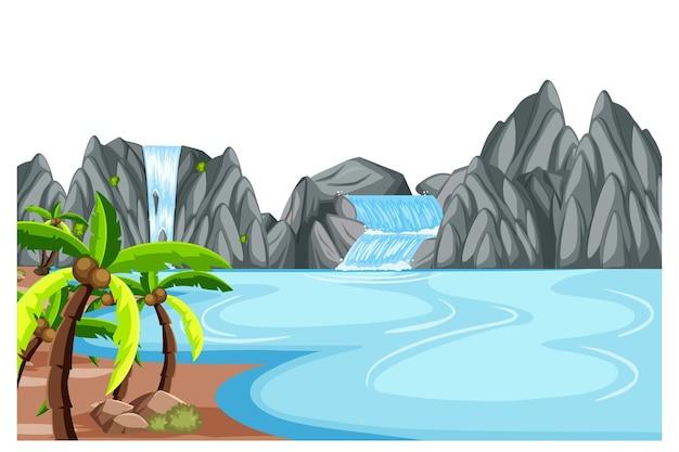 Naturlandschaft am tag szene mit wasserfall