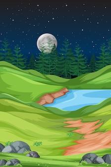 Naturlandschaft bei nacht