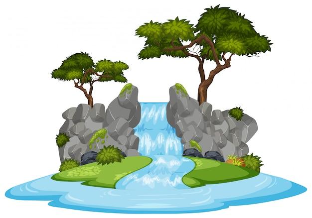 Naturlandschaft des wasserfalls mit grünen bäumen
