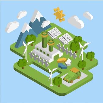 Naturlandschaft. grüne energie der isometrischen ökologie der wohnung 3d