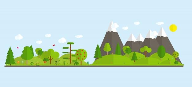 Naturlandschaft mit bergen und bäumen.