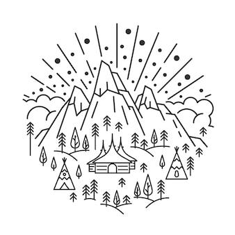 Naturlandschaft mit fels- und sonnenstrahlen in linearer hütte und tipi-camping im tannenwald...