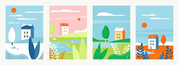 Naturlandschaft mit häusern in verschiedenen jahreszeiten vektorillustrationssatz. vertikales einfaches minimalistisches landschaftsdesign der karikatur, ländliche landschaftsszenen, bauernhäuser im sommer herbst winter winter frühling