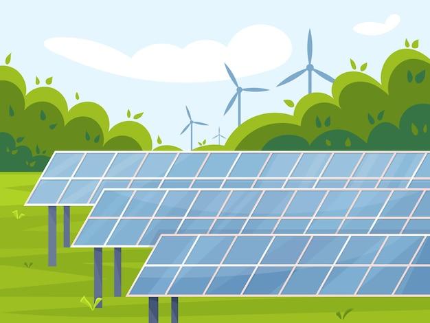 Naturlandschaft mit sonnenkollektoren und windkraftanlagen vektor-illustrationskonzept der grünen energie