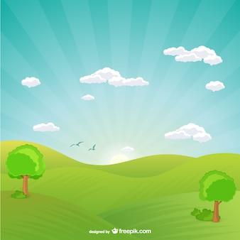 Naturlandschaft mit sonnenuntergang