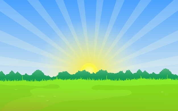 Naturlandschaft mit wiese und sommer sonnenaufgang.