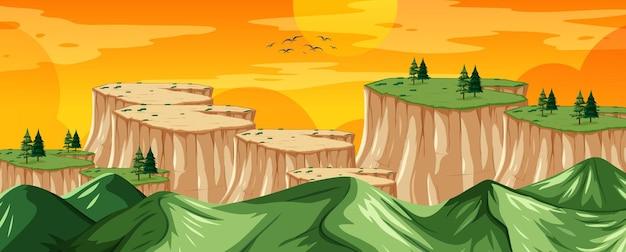 Naturlandschaftslandschaftsansicht von einem berggipfel