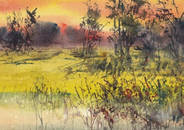 Naturlandschaftsmalerei von aquarell