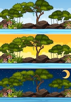 Naturlandschaftsszene zu verschiedenen tageszeiten