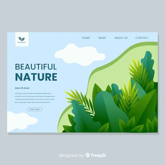Naturlandungsseite mit vegetationsdesign