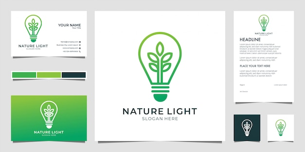 Naturlicht, lampe, glühbirnenlogodesign und visitenkarte