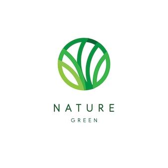 Naturlogo, grünes tropisches blattsymbol, linie stilisiert, rundes emblem, modernes design, baumlaub-logo-vorlage.