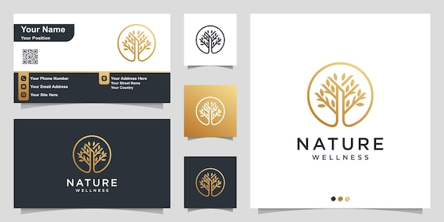 Naturlogo mit einfachem goldenen baumkonzept und visitenkarte