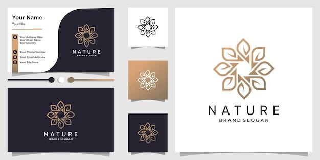 Naturlogo mit kreativem blumenkonzept und visitenkarte