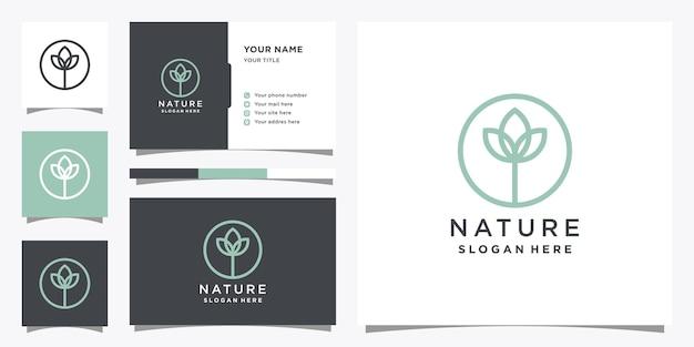 Naturlogodesign mit kreativem konzept und visitenkarte.