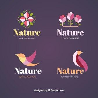 Naturlogosammlung mit flachem design