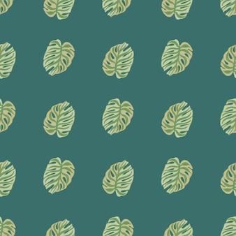 Naturnahtloses muster mit grünem monstera-elementdruck. türkisfarbener hintergrund. druck im sommerstil. vektorillustration für saisonale textildrucke, stoffe, banner, hintergründe und tapeten.