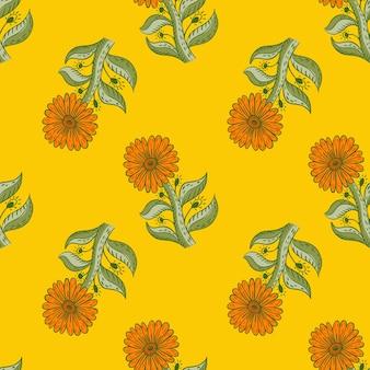 Naturnahtloses muster mit grüner und orangefarbener sonnenblume