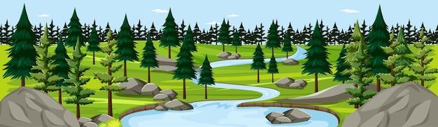 Naturpark mit flusslandschaftspanoramaszene