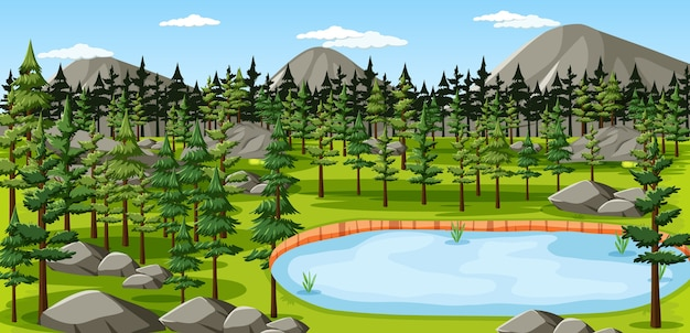 Naturpark mit seelandschaftsszene