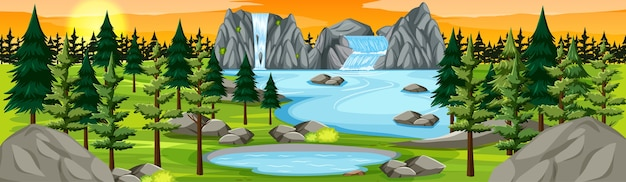 Naturpark mit wasserfalllandschaftspanorama bei sonnenuntergangsszene