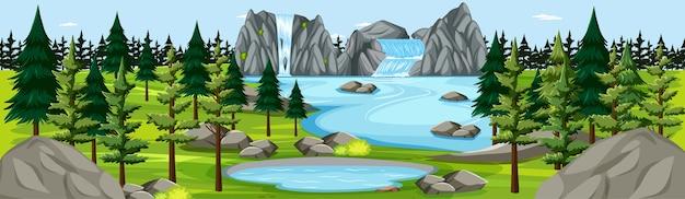 Naturpark mit wasserfalllandschaftspanoramaszene