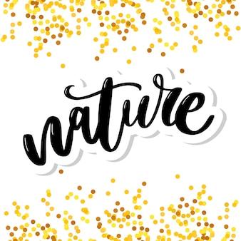 Naturproduktaufkleber - handgeschriebene moderne kalligraphie auf schmutzgrün-farbenanschlägen. umweltfreundliches konzept für aufkleber, banner, karten, werbung. vektor ökologie natur design.