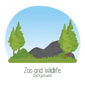 Naturreservatwild lebende tiere mit baum und steinen