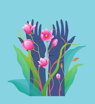 Naturschutz schönheit und reinheit erhoben menschliche hände mit rosa blumen zusammensetzung design.